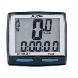 Велокомпьютер as-200 проводной. 8 функций: скорость /режим сканирования /время /пройденное расстояние/одометр /максимальная скорость /средняя скорость /часы. цвет: чёрный