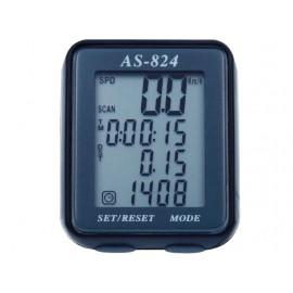 Велокомпьютер as-824 проводной. 8 функций: скорость /режим сканирования /время /пройденное расстояние/одометр /максимальная скорость /средняя скорость /часы. цвет: чёрный