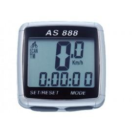 Велокомпьютер as-888 проводной. 8 функций: скорость /режим сканирования /время /пройденное расстояние/одометр /максимальная скорость /средняя скорость /часы. цвет: серебристый