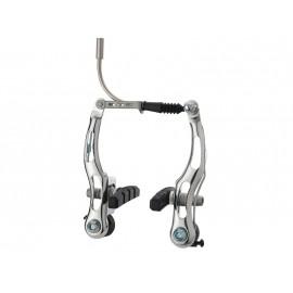 Alhonga тормоза v-brake hj-6021s7 для mtb/trekking/city, сталь, рамки 110мм, пружина линейная, серебр., с колодками hj-601.12 (60мм), 186г/колесо, пер.+зад.