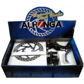 Alhonga тормоза дисковые мех. hj-md11+hj-327adv+2p передний+задний с торм. ручками и роторами 160мм, в коробке