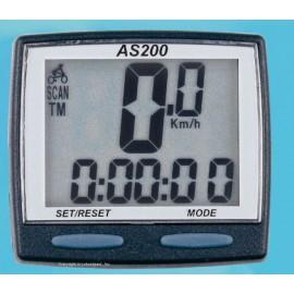 Велокомпьютер as-200 проводной. 11 функций: скорость /режим сканирования /время /пройденное расстояние/одометр /максимальная скорость /средняя скорость /часы /каденс /счётчик калорий /секундомер. цвет: чёрный