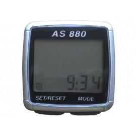 Велокомпьютер ac-880 проводной. 11 функций: скорость /режим сканирования /время /пройденное расстояние/одометр /максимальная скорость /средняя скорость /часы /каденс /счётчик калорий /секундомер. цвет: серебристый