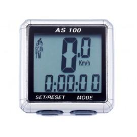 Велокомпьютер as-100 проводной. 8 функций: скорость /режим сканирования /время /пройденное расстояние/одометр /максимальная скорость /средняя скорость /часы. цвет: серебристый