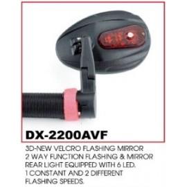 Зеркало dx-2200avf с 6-диодной красной мигалкой, постоянный и 2 мигающих режима. крепление на липучке.